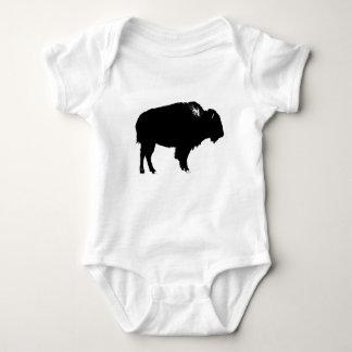 Black & White Bison Buffalo Silhouette Pop Art Baby Bodysuit