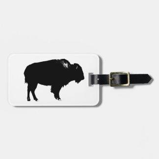 Black & White Bison Buffalo Silhouette Pop Art Bag Tag