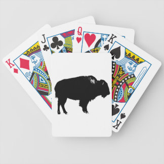 Black & White Bison Buffalo Silhouette Pop Art Bicycle Playing Cards