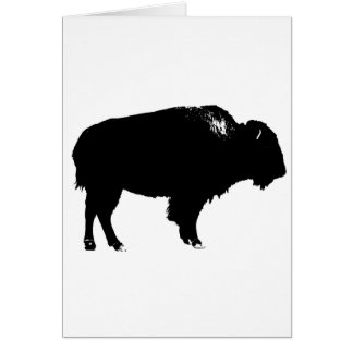 Black & White Bison Buffalo Silhouette Pop Art Card