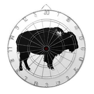 Black & White Bison Buffalo Silhouette Pop Art Dart Board