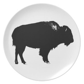 Black & White Bison Buffalo Silhouette Pop Art Plate