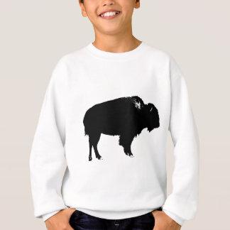 Black & White Bison Buffalo Silhouette Pop Art Sweatshirt