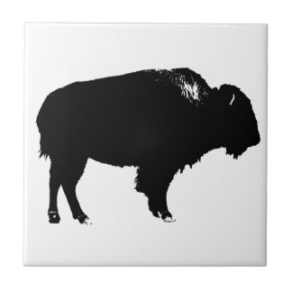 Black & White Bison Buffalo Silhouette Pop Art Tile
