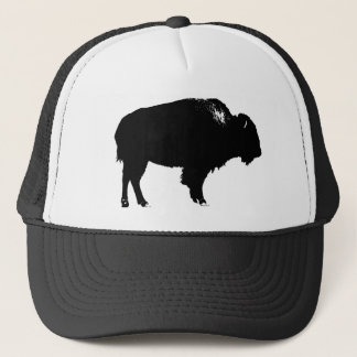 Black & White Bison Buffalo Silhouette Pop Art Trucker Hat