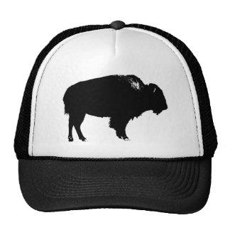 Black & White Bison Buffalo Silhouette Pop Art Trucker Hat