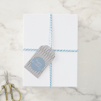 Black & White & Blue Abstract Pattern Gift Tags