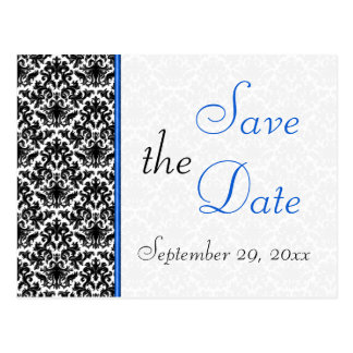 Black, White, Blue Damask Save the Date Postcard