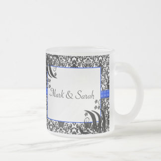 Black, White, & Blue Floral Damask 10 Oz Frosted Glass Coffee Mug