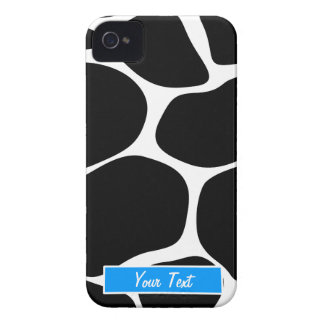 Black/White Blue Giraffe Print - Personalize Case-Mate iPhone 4 Cases