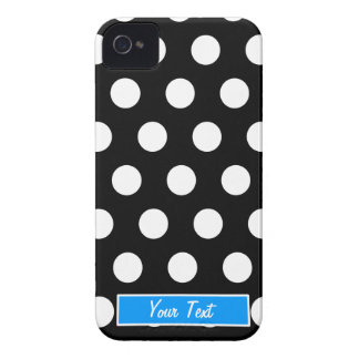 Black/White Blue Polka Dots - Personalize iPhone 4 Cases