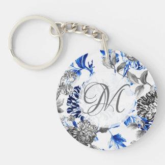 Black & White Blue Vintage Floral Toile Monogram Keychain