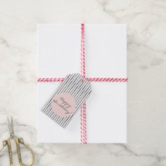 Black & White & Blush Abstract Print Gift Tags
