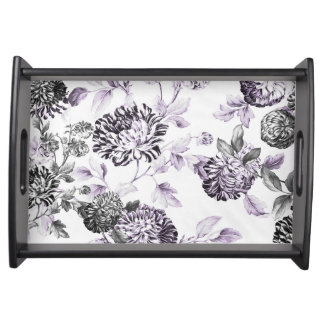 Black White Blush Mulberry Blue Floral Toile Serving Tray