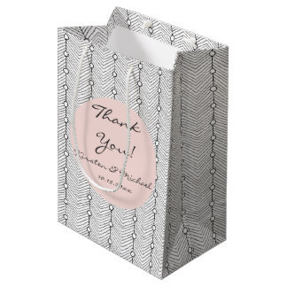 Black White Blush Retro Print Thank You Gift Bag