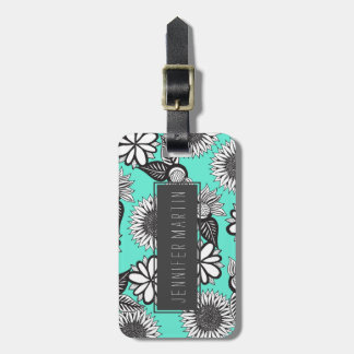 Black White Bohemian Hand Drawn Flowers on Teal Luggage Tag