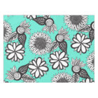 Black White Bohemian Hand Drawn Flowers on Teal Tablecloth