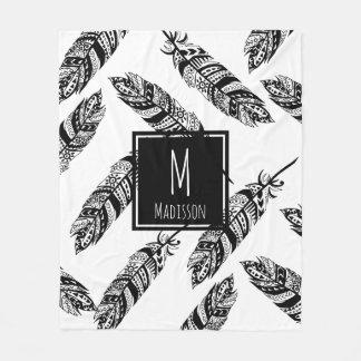Black & White Boho Tribal Feathers - Personalized Fleece Blanket