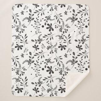 Black White Boho Wildflower Floral Pattern Sherpa Blanket