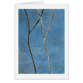 Black & white branches on blue abstract painting card