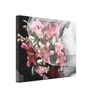 Black & White Bridal Couple Pink Lily Canvas Print