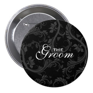"""Black white """"Bridal party"""" floral 3 Inch Round Button"""