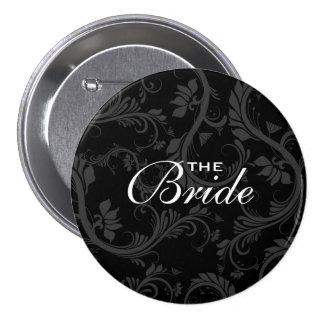 """Black white bride """"Bridal party"""" wedding 3 Inch Round Button"""