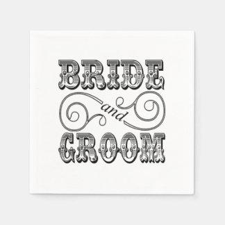 Black & White Bride & Groom Design Paper Napkins