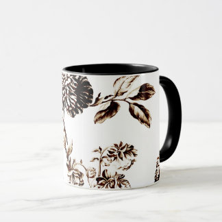 Black & White Bronze Botanical Floral Toile Mug