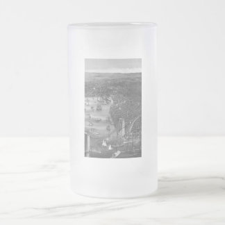 Black & White Brooklyn Map Frosted Glass Mug