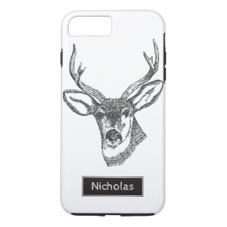 Black & White Buck Deer Head Custom Name iPhone 7 Plus Case