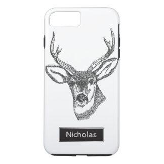 Black & White Buck Deer Head Custom Name iPhone 8 Plus/7 Plus Case