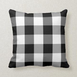 Black White Buffalo Check | Simple Plaid Pattern Throw Pillow