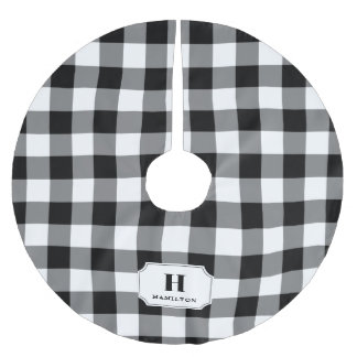 Black & White Buffalo Plaid Monogram Brushed Polyester Tree Skirt