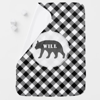 Black + White Buffalo Plaid Watercolor Bear Baby Baby Blanket