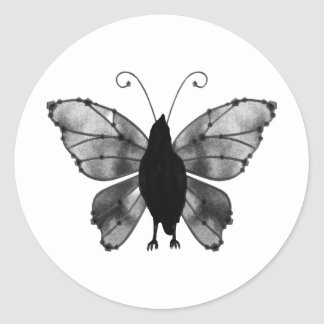 Black & White Butterfly Raven Classic Round Sticker