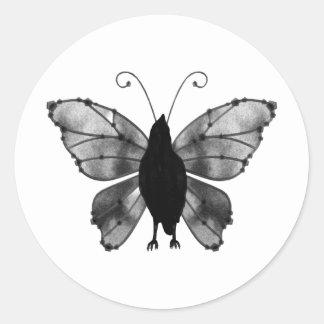 Black & White Butterfly Raven Round Sticker
