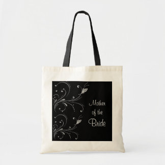 Black & White Butterfly Scroll Mother of the Bride Tote Bag