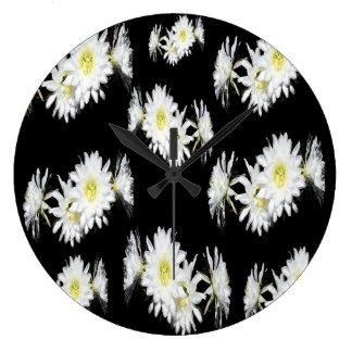 Black White Cacti Flower Pattern, Large Wall Clock