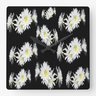 Black White Cacti Flower Pattern Square Wall Clock