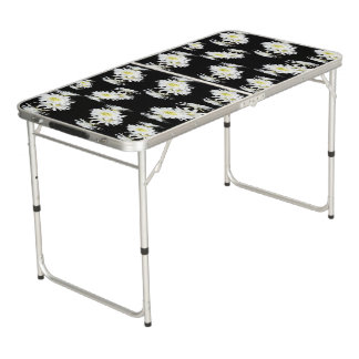 Black White Cacti Pattern, Aluminum Folding Table. Beer Pong Table