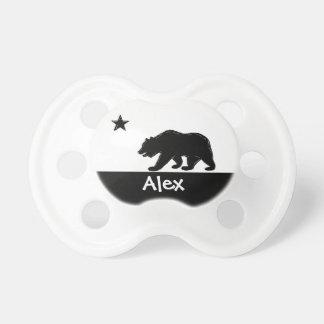 Black white California bear custom baby pacifier