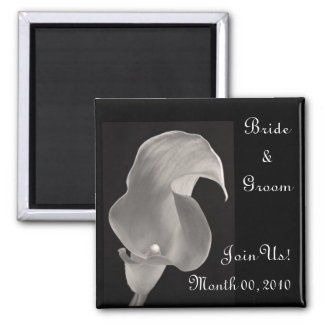 Black & White Calla Lily Square Magnet