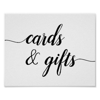 Black & White Calligraphy Cards & Gifts Sign