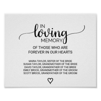 Black & White Calligraphy In Loving Memory Sign