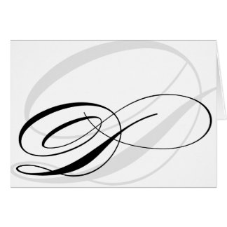 Black & White Calligraphy Initial D Monogram Cards
