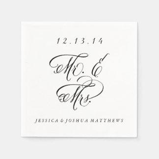 Black & White Calligraphy Mr. & Mrs. Wedding Disposable Napkin