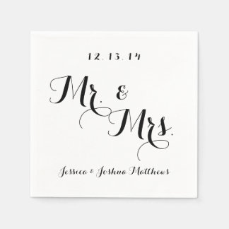 Black & White Calligraphy Mr. & Mrs. Wedding Paper Napkins
