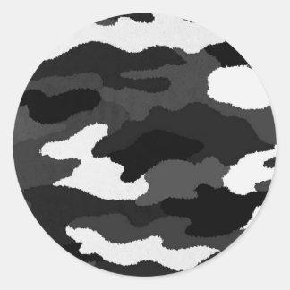 Black & White Camo Classic Round Sticker