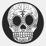 Black/White Candy Skull Classic Round Sticker